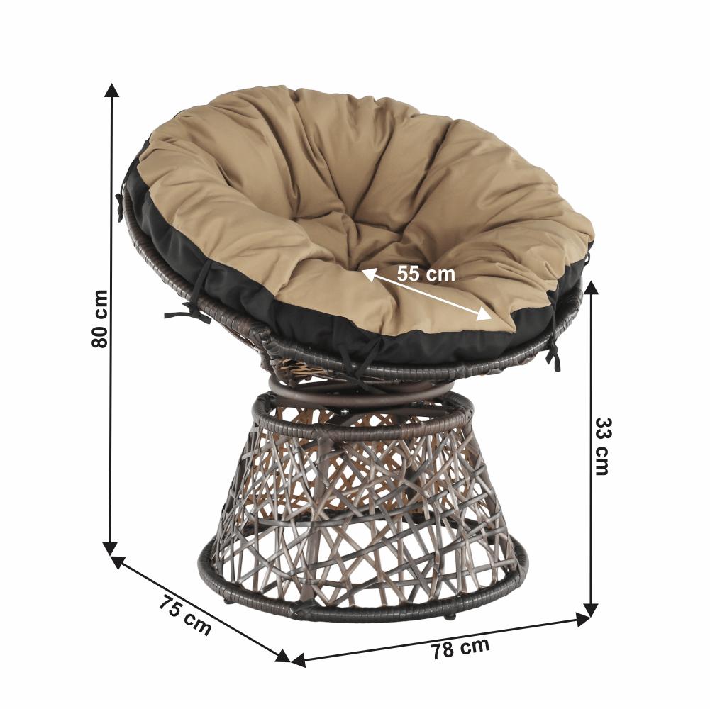 Fotoliu rotativ cu pernă, maro/negru/bej, TRISS