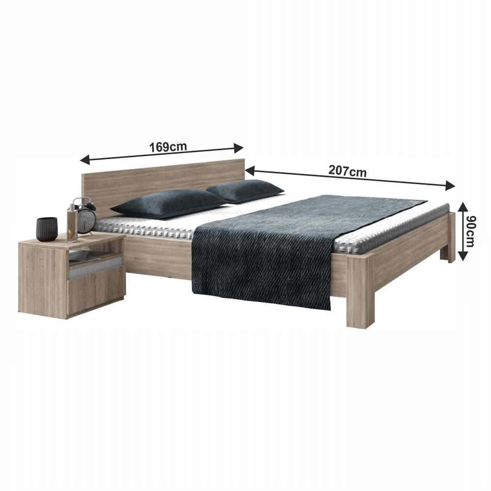 Ágy 160x200, trufla sonoma tölgyfa, MEDIOLAN 2 NEW
