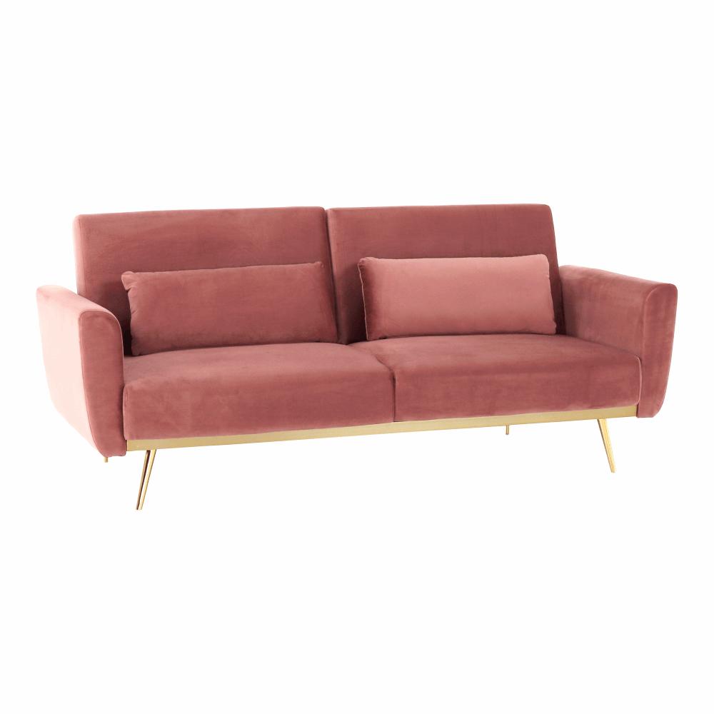 Canapea extensibilă, catifea Velvet roz învechit/cromat-auriu, HORSTA