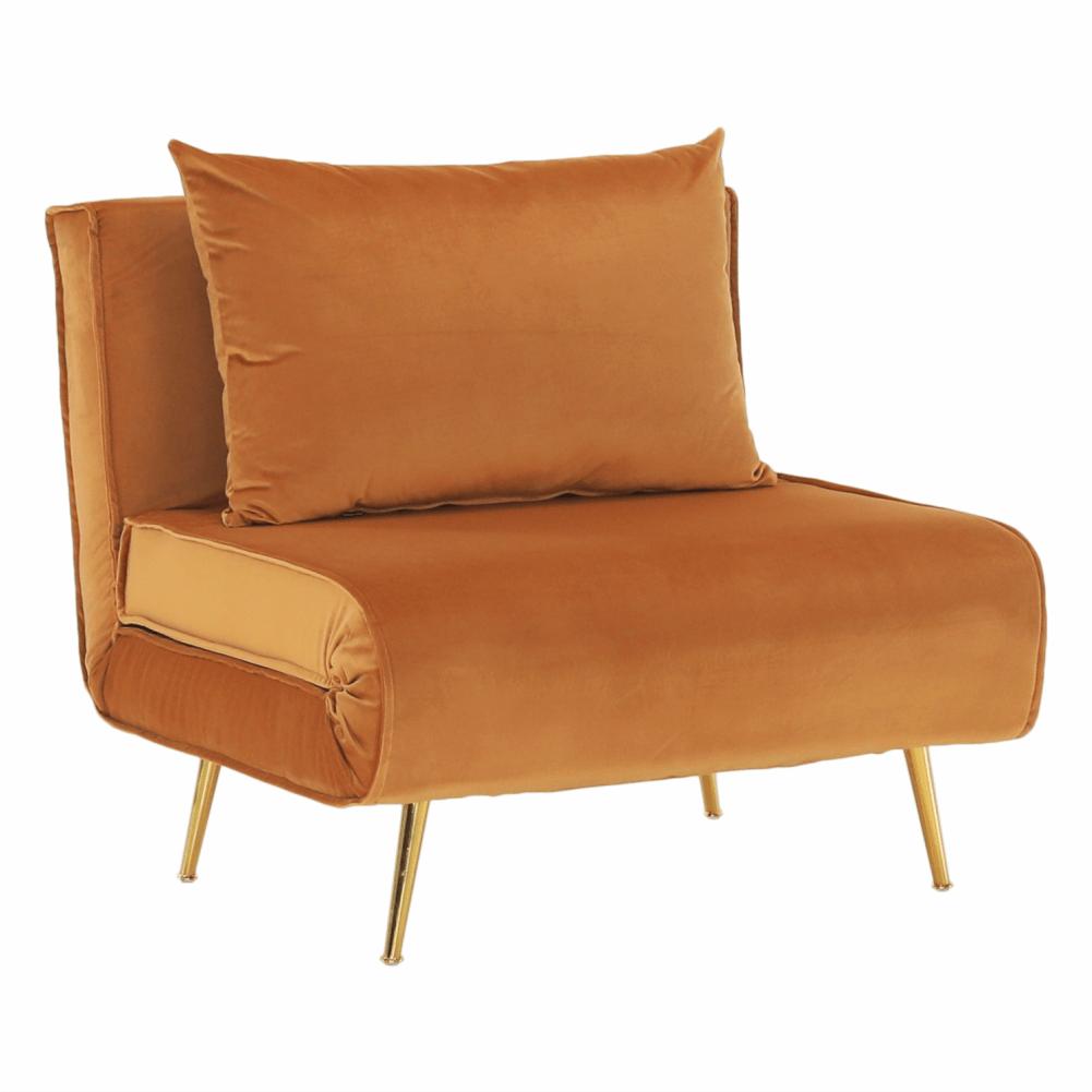 Fotel ágyfunkcióval, mustár Velvet anyag/gold króm arany, MILIN