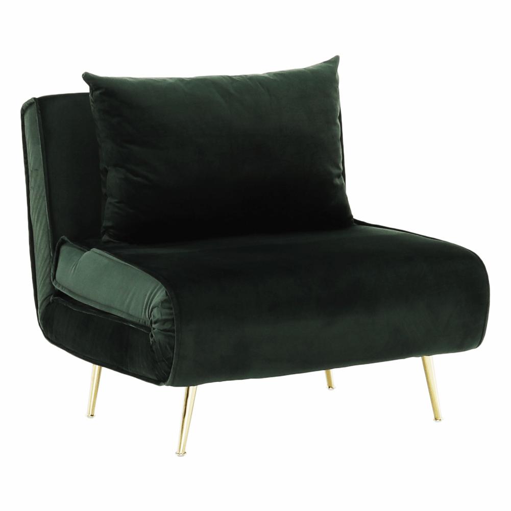 Fotel ágyfunkcióval, zöld Velvet anyag/gold króm arany, MILIN