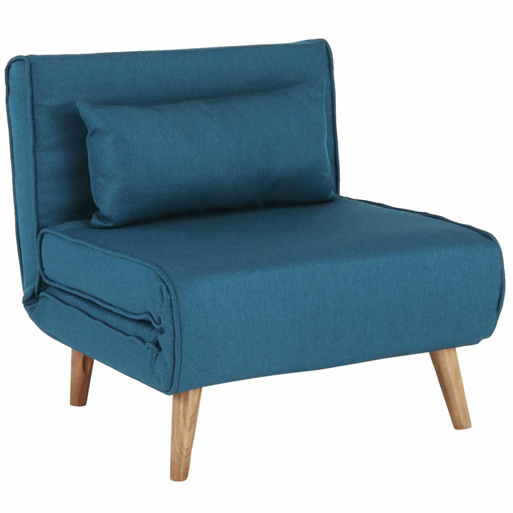 Felbomlottható fotel, türkiz/tölgyfa, FARIDO