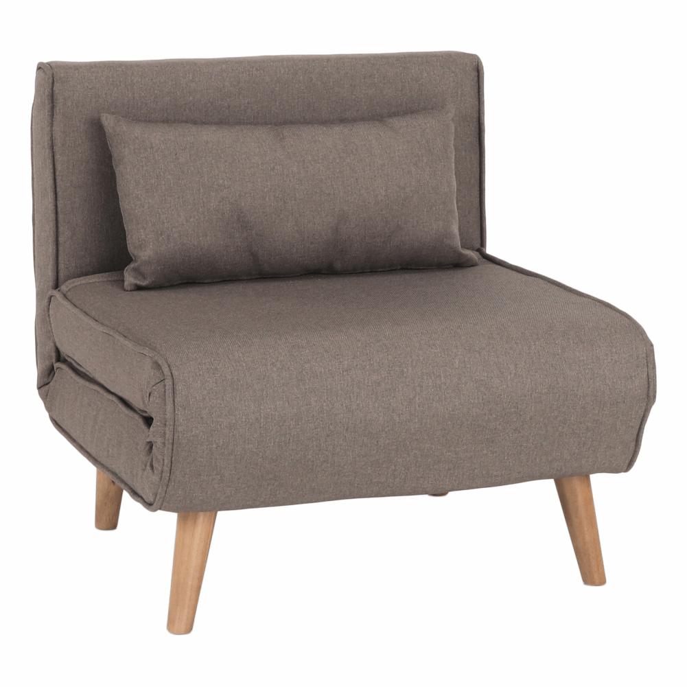 Felbomlottható fotel, szürkebarna TAUPE/tölgyfa, FARIDO