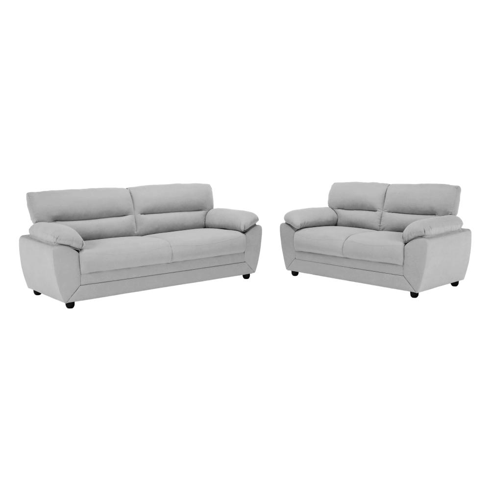 Set canapele 3+2, material textil gri deschis, BETANY