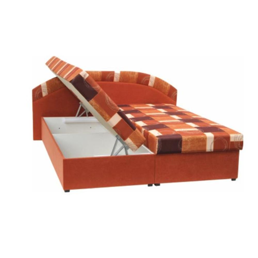 Dupla ágy, hab, narancssárga/minta, KASVO