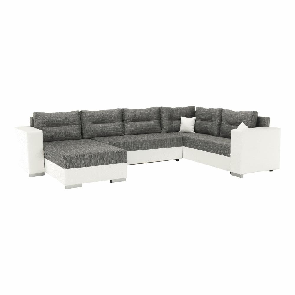 Univerzális ülőgarnitúra, fehér/szürkésbarna, STILA