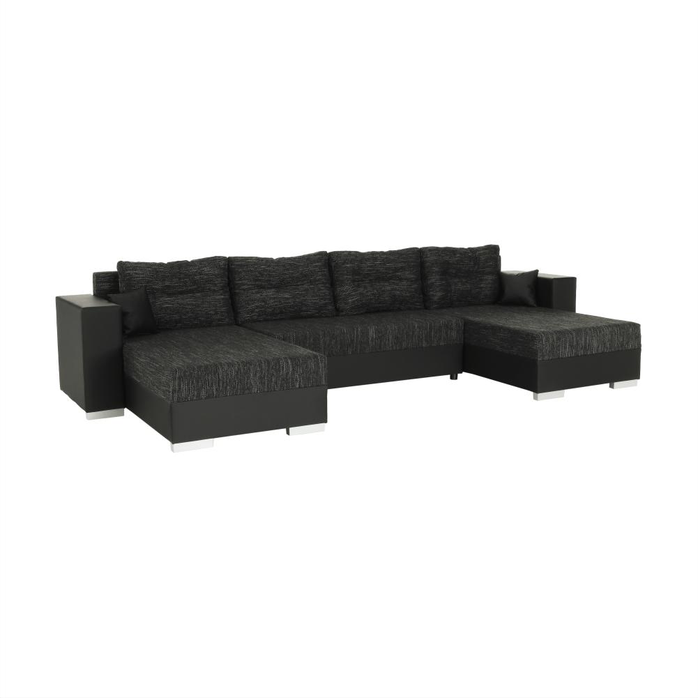 Univerzális ülőgarnitúra, fekete/fekete melír, ESSEN