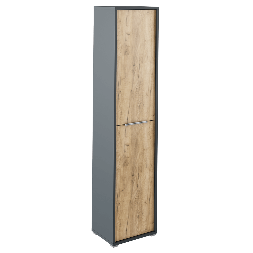 Magas szekrény polcokkal, grafit/tölgyfa artisan, RIOMA TYP 06