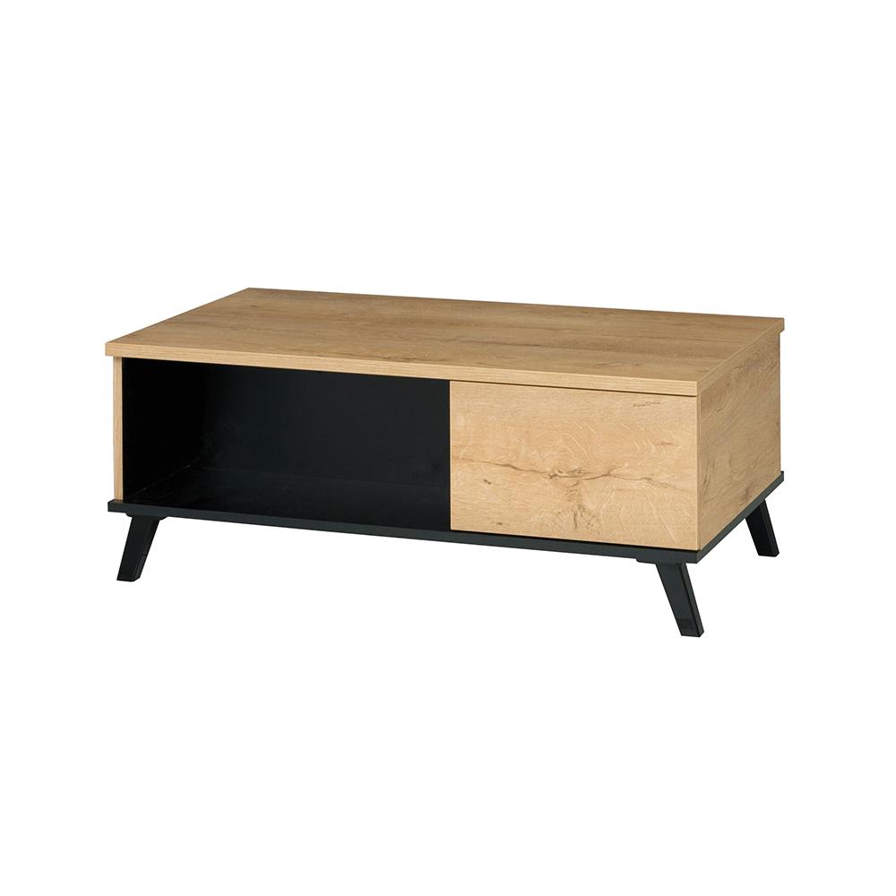 Dohányzóasztal, tölgyfa lefkas/fekete, SIRAN TYP 8