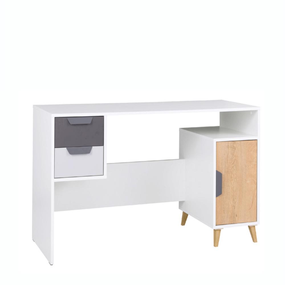 Masă pentru calculator, alb / grafit / stejar lefkas , SINDRA TYPE 13