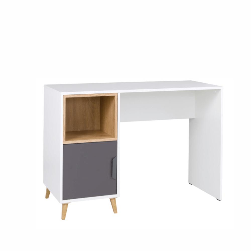 Masă pentru calculator, alb / grafit / stejar lefkas , SINDRA TYPE 14