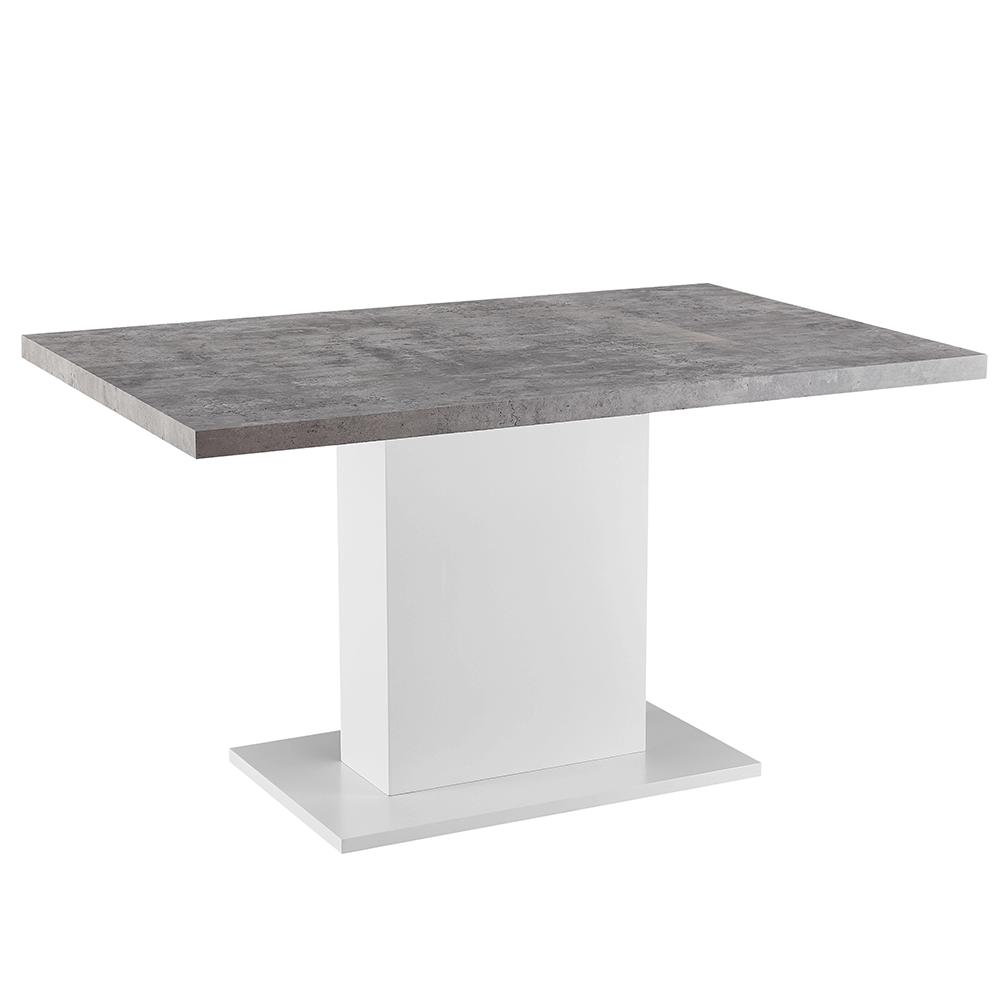 Masă dining, beton/alb extra lucios HG, 138, KAZMA