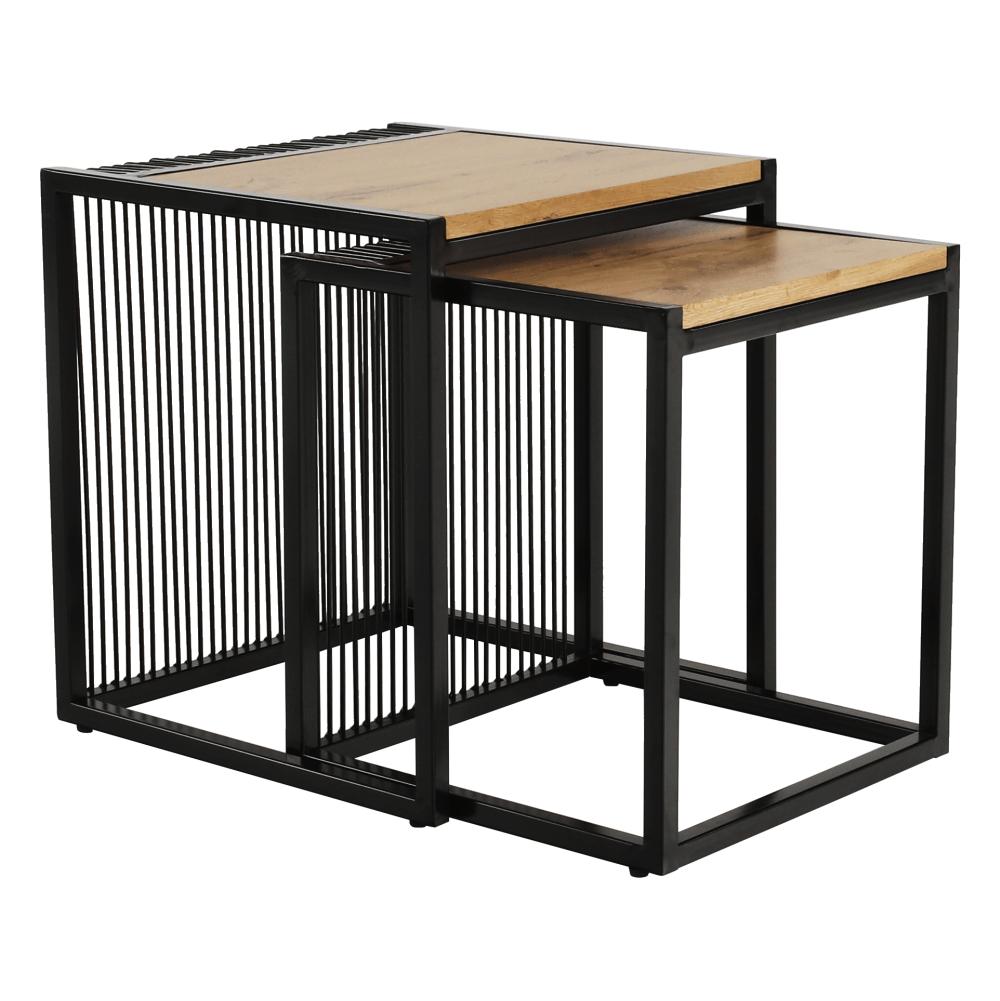 Két dohányzóasztal készlet, tölgyfa/fekete, RIMBO