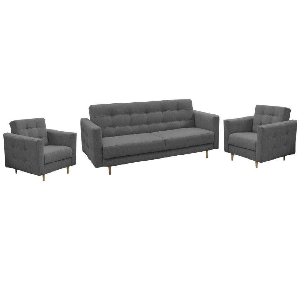 Canapea tapiţată 3+1+1, material textil gri închis, AMEDIA