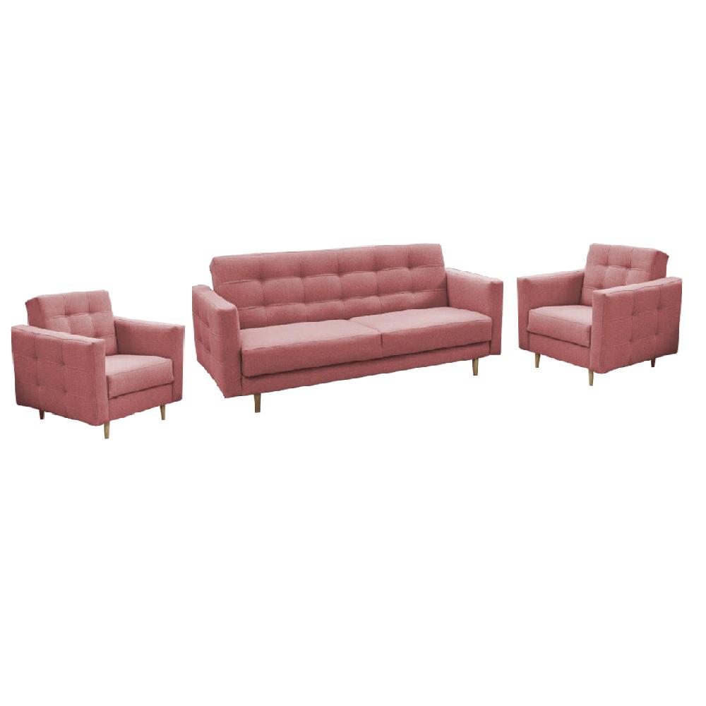 Canapea tapiţată 3+1+1, material textil roz învechit, AMEDIA