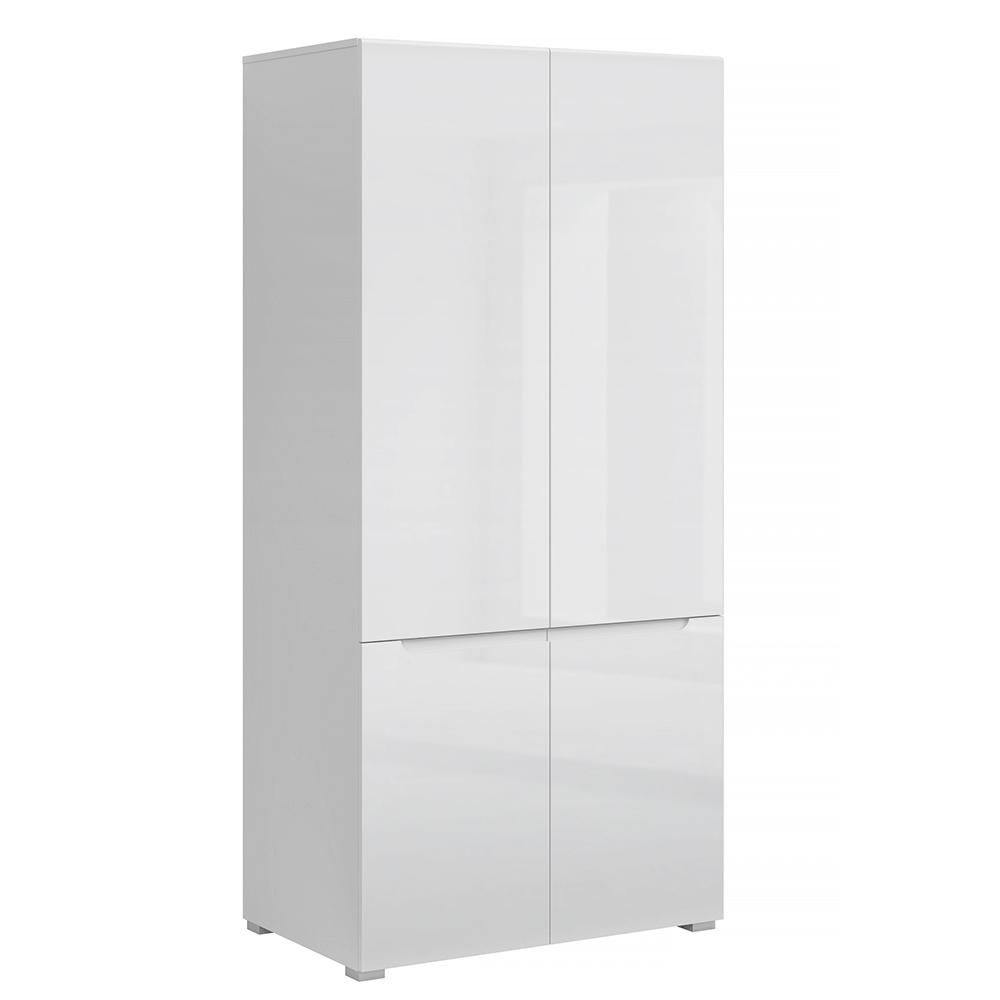 Vešiaková skriňa 4D, biela/biely extra vysoký lesk HG, JOLK
