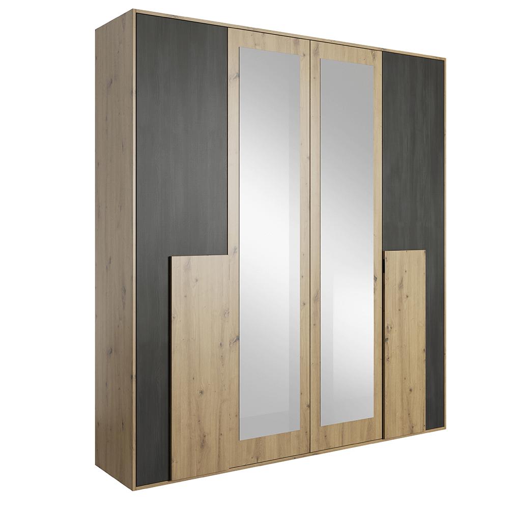Szekrény tükörrel 2D, artisan tölgy/fekete norvég fenyő, BAFRA