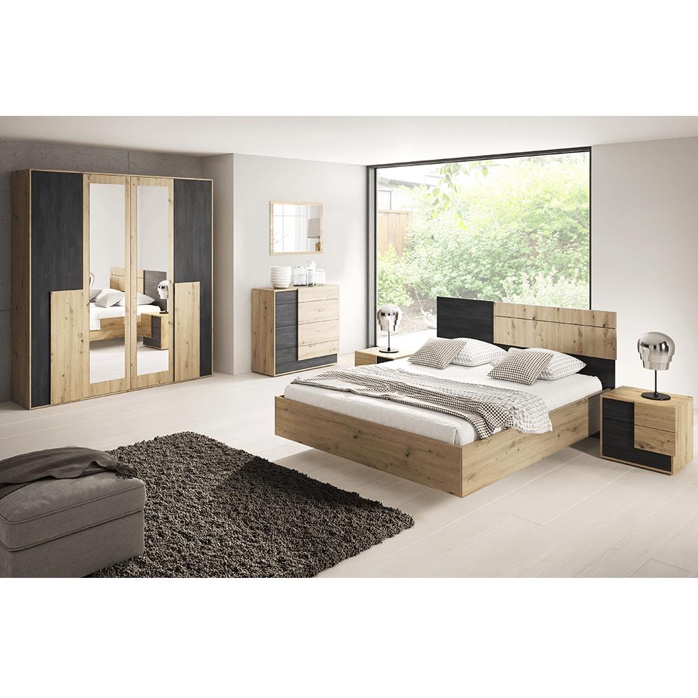 Set dormitor, stejar artizanal/pin negru norvegian, BAFRA