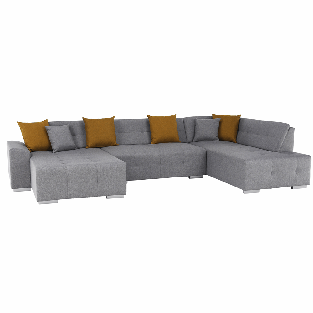 Canapea, gri/muştar, model dreapta, BELLIS U