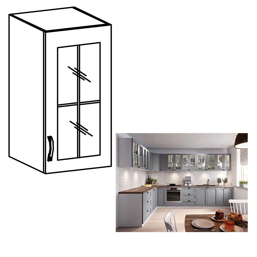 Cabinet superior, alb/gri mat, model dreapta, LAYLA G30S