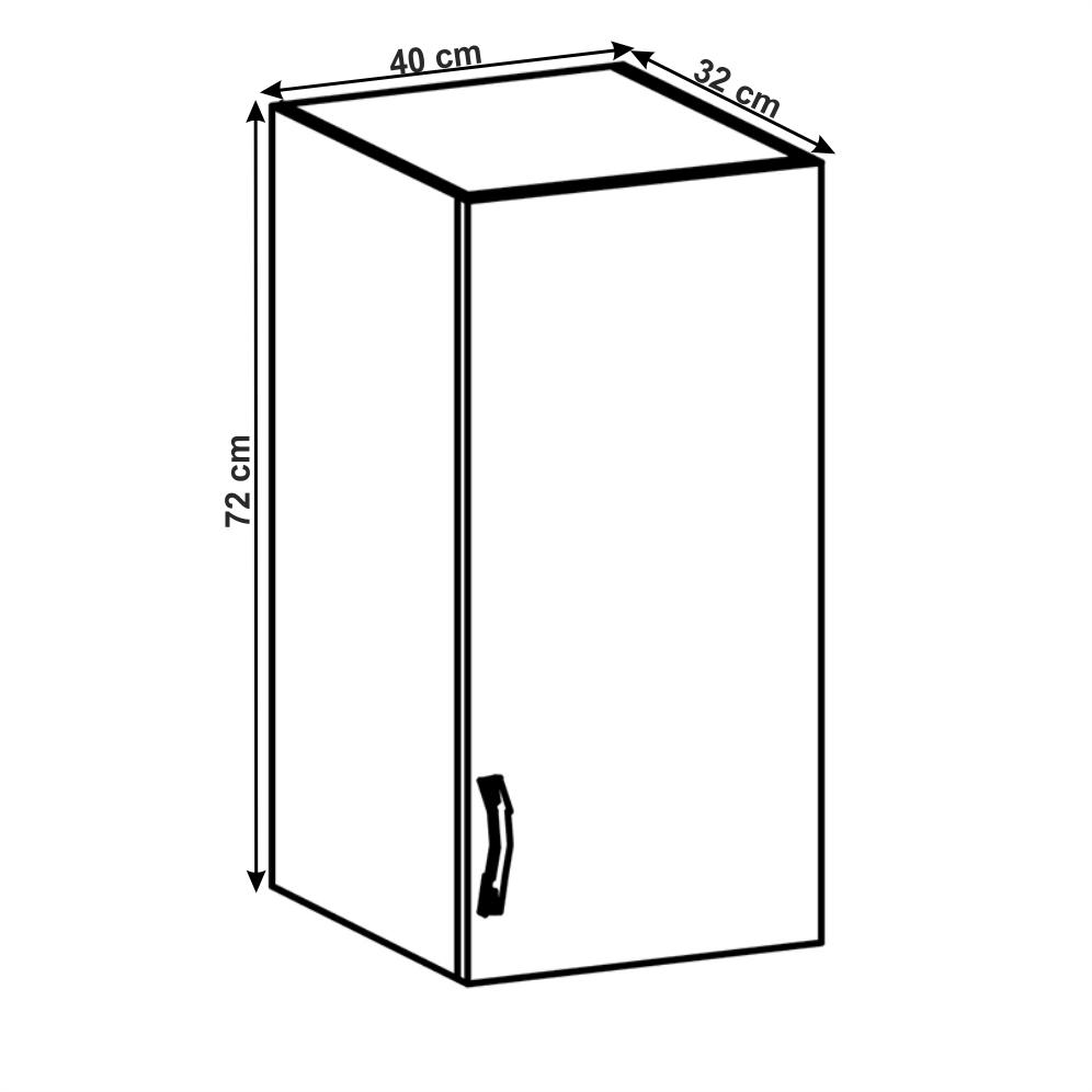 Felső szekrény, fehér/szürke matt, jobb, LAYLA G40
