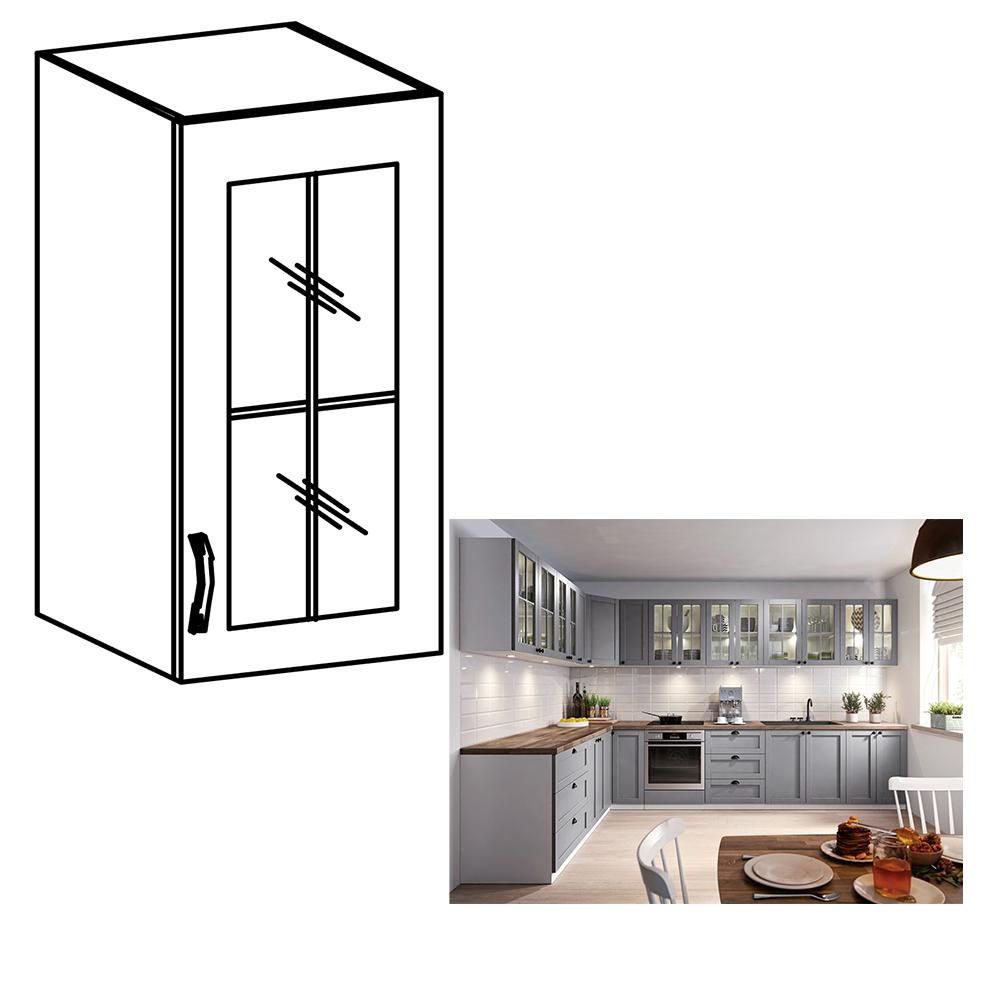 Cabinet superior, alb/gri mat, model dreapta, LAYLA G40S