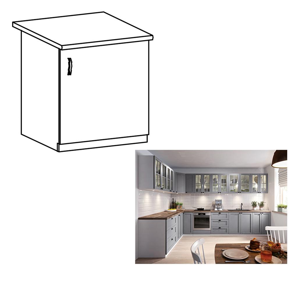 Cabinet inferior, gri mat/alb, model dreapta, LAYLA D601F