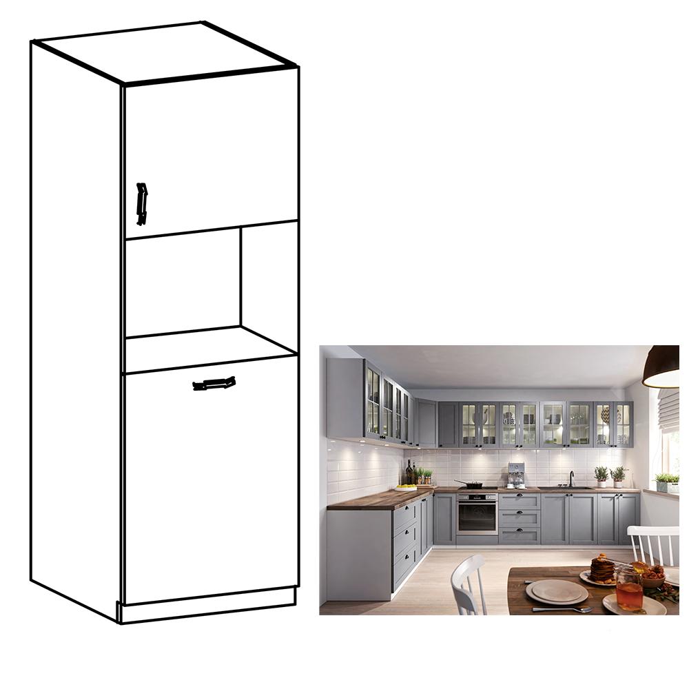 Magas szekrény a beépíthető sütőhöz, szürke matt/fehér, LAYLA  D60P