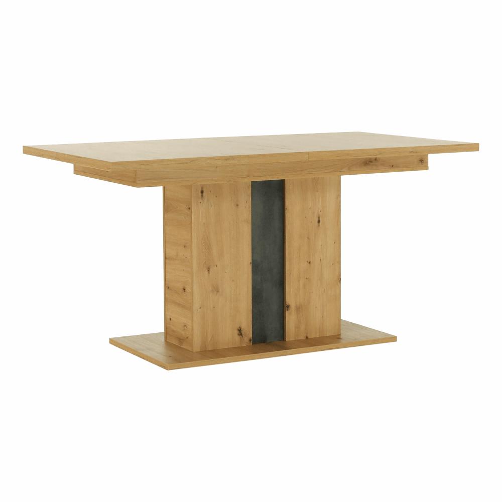 Masă dining, stejar artizanal / beton gri, ERIDAN