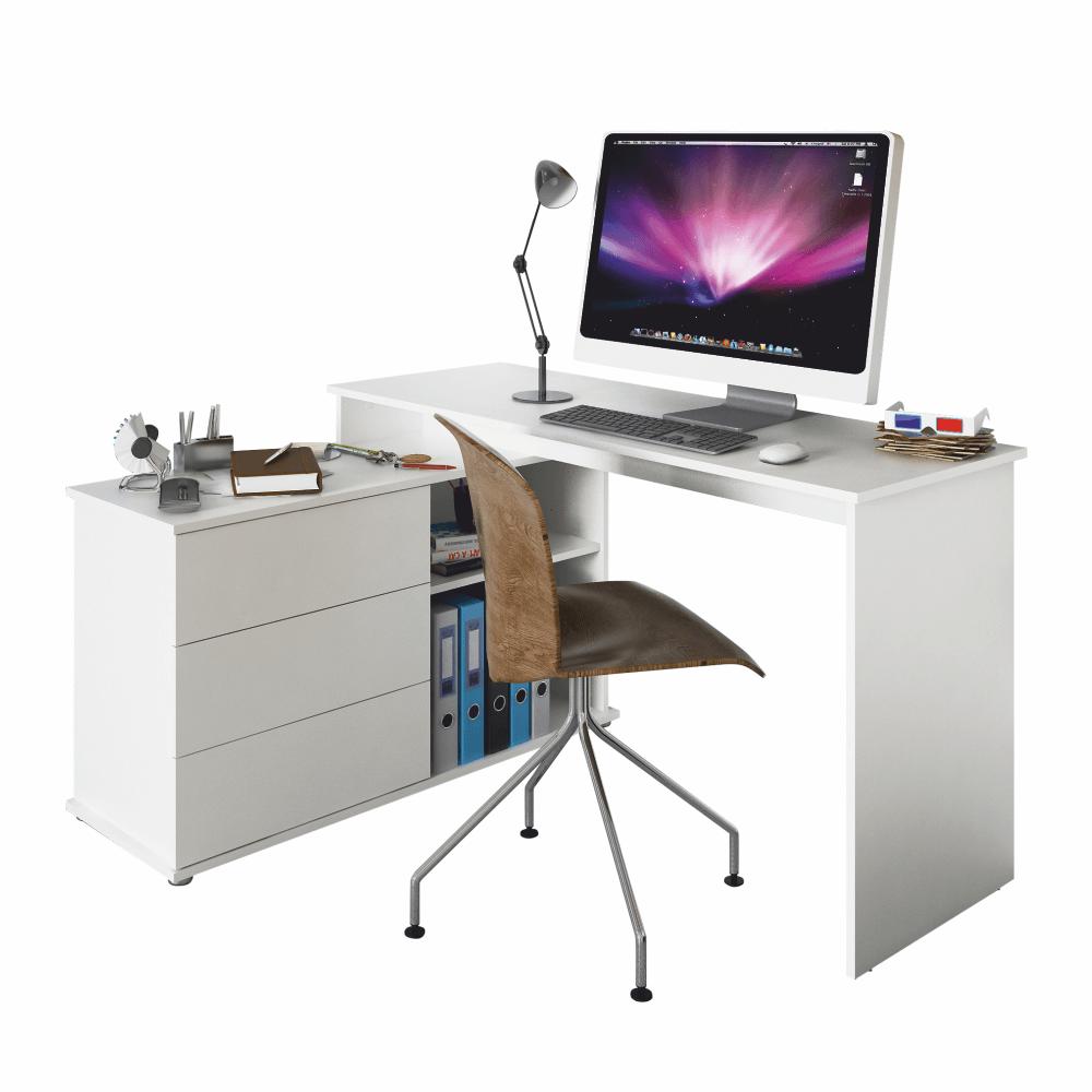 Univerzális sarok PC asztal, fehér, TERINO