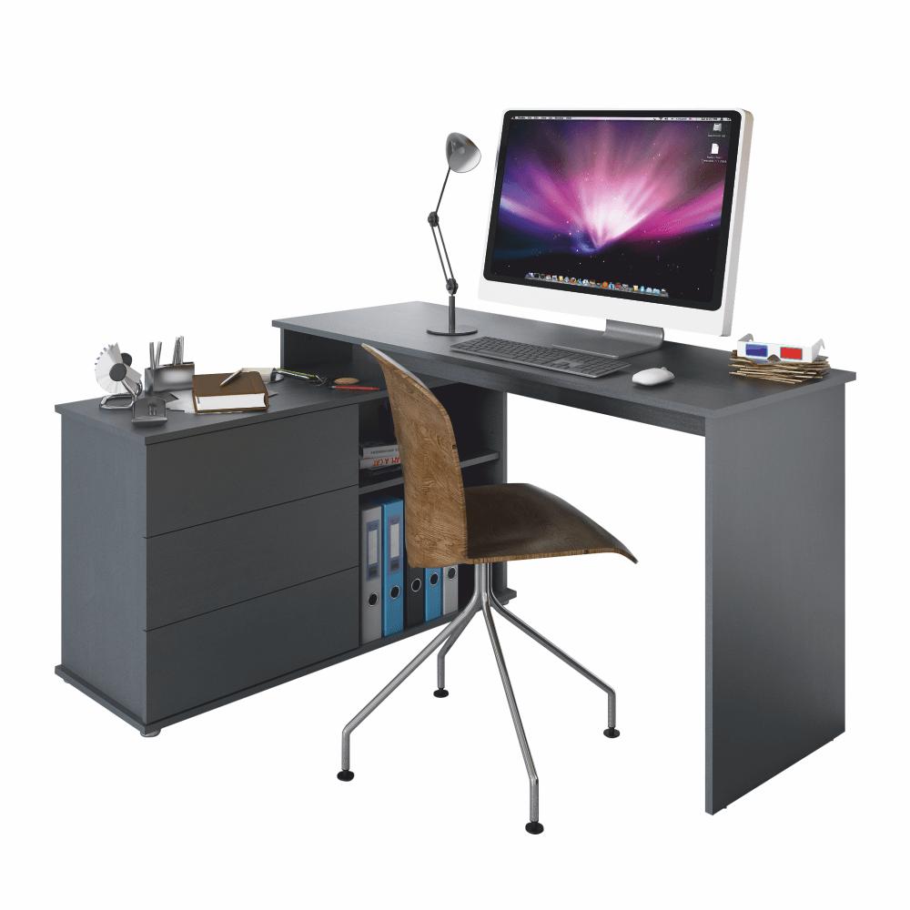 Birou PC universal de colţ, grafit, TERINO
