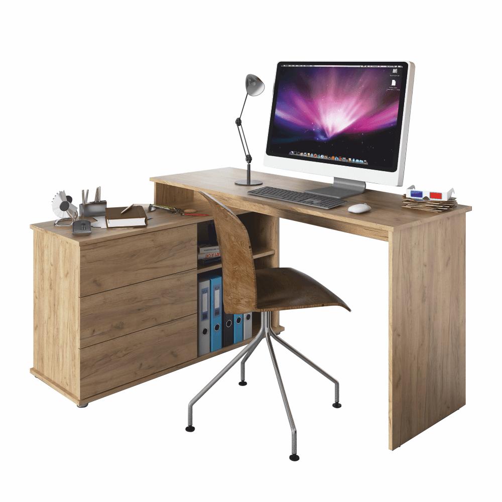 Univerzális sarok PC asztal, tölgyfa artisan, TERINO