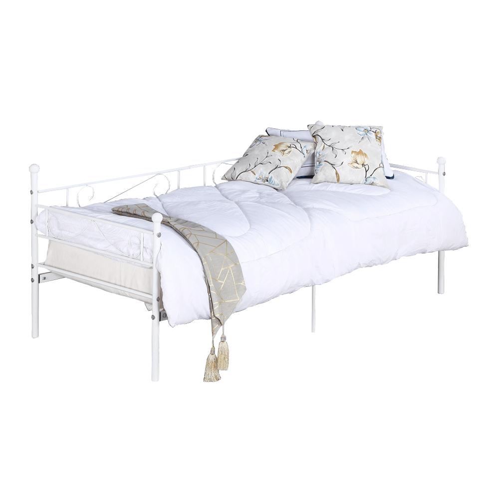 Fém kanapé - egyszemélyes ágy, fehér, 90x200, ROZALI