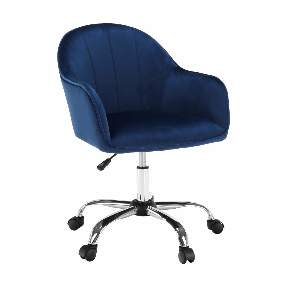 Scaun de birou, material textil din catifea albastru / crom, EROL