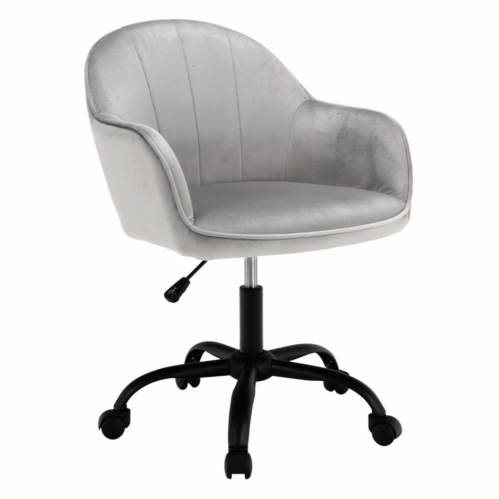 Scaun de birou, material textil din catifea gri deschis / negru, EROL