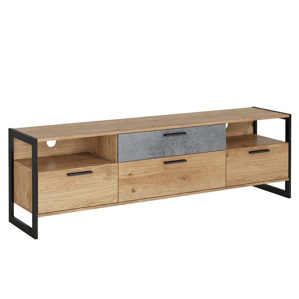 TV asztal, grandson tölgy/szürke beton/fekete, EISEN