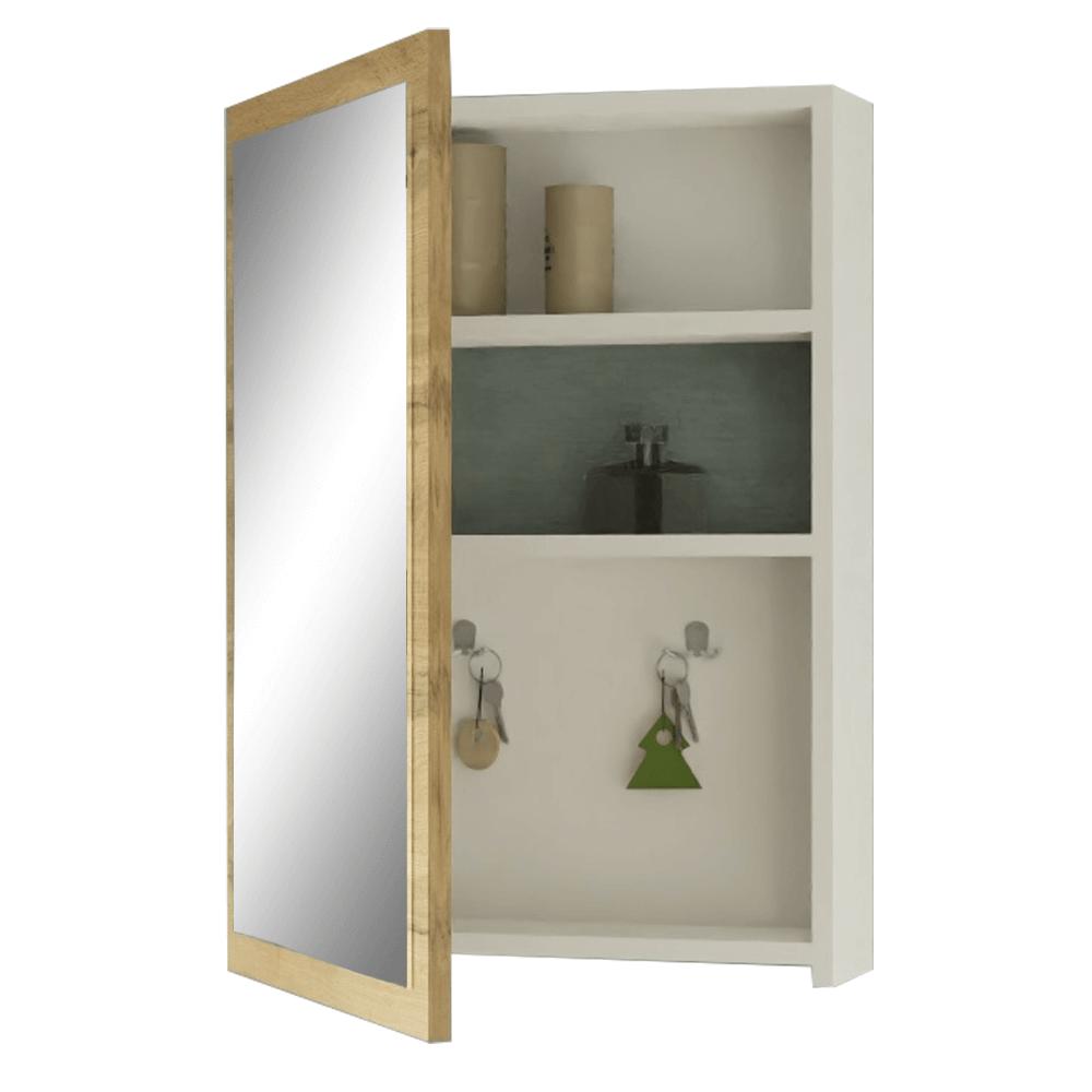 Oglindă, alb / stejar wotan, HILO