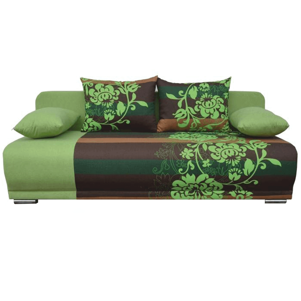 Colţar extensibil, verde/maro/model flori, REMI NEW