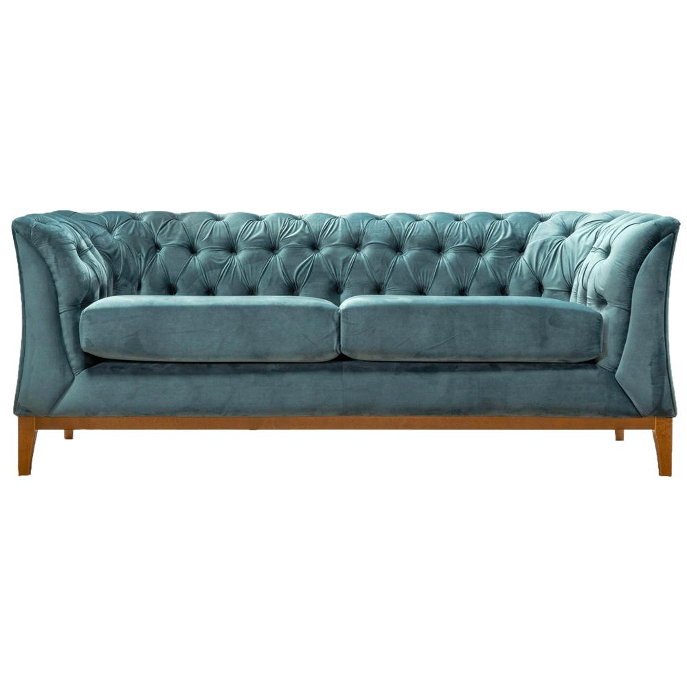 Canapea cu 2,5-locuri, albastru verde/stejar aweo, la comandă, POWEL 2 ,5 WF