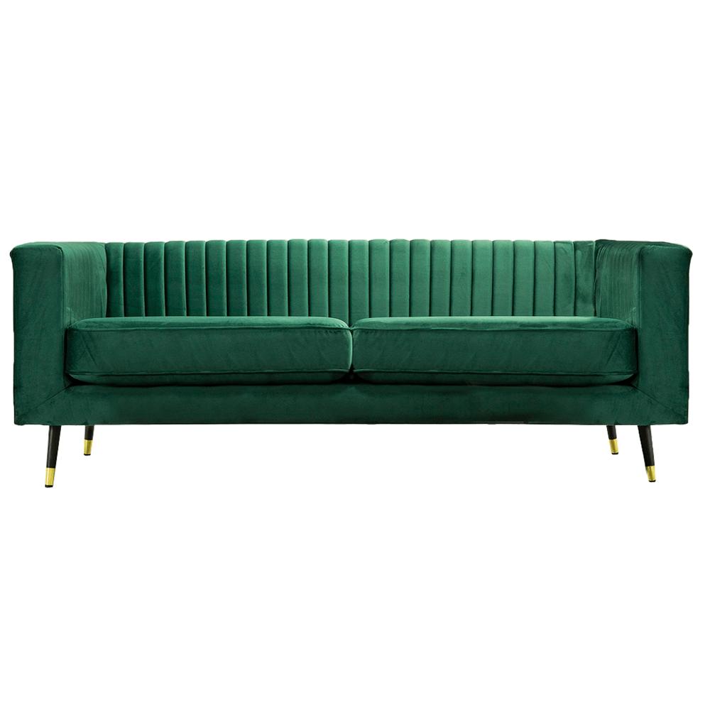 Canapea cu 3-locuri, smarald/negru/gold mosadz auriu, SOMY 3