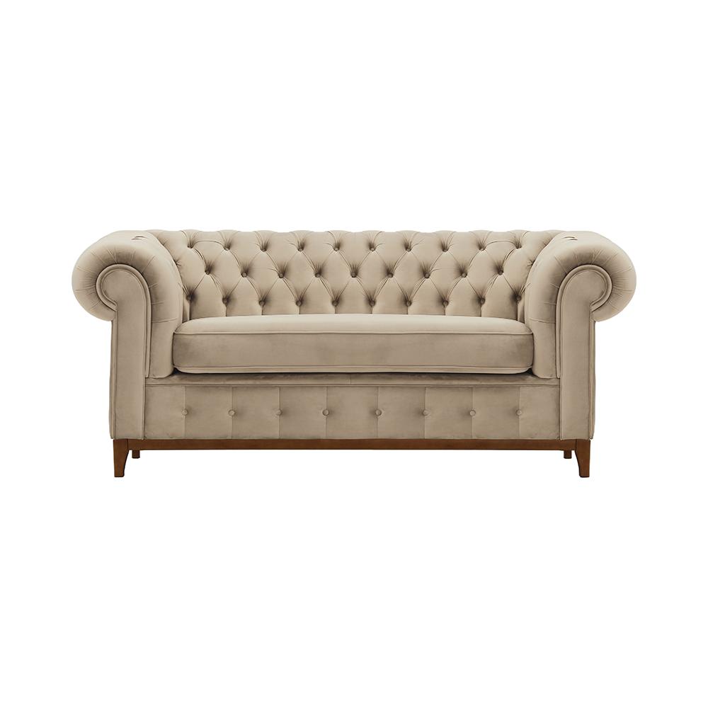 Canapea cu 2-locuri de lux, maro deschis/stejar aweo, TIFANY 2