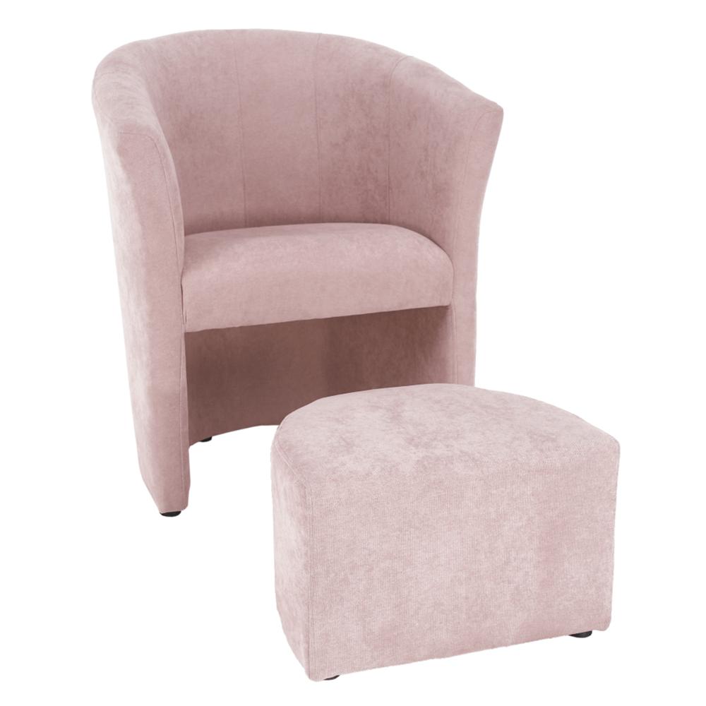 Fotoliu de club cu taburet, roz pudră, ROSE