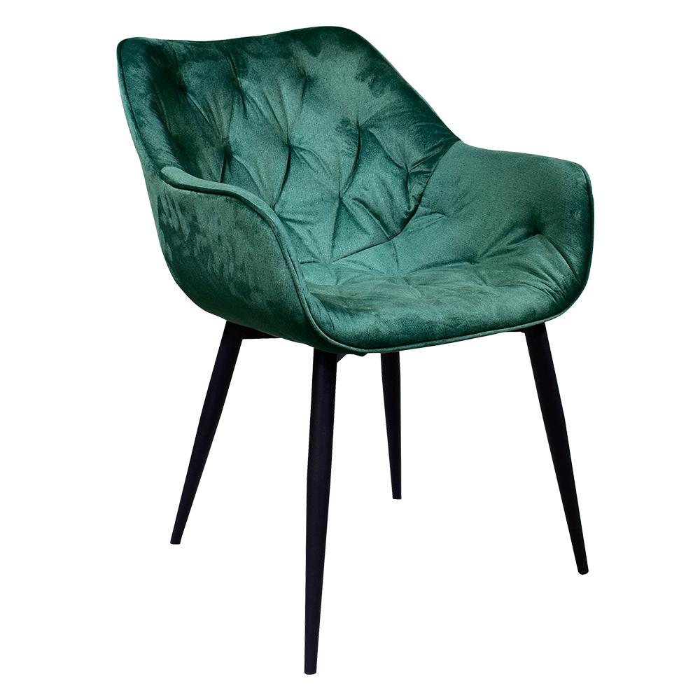 Dizájnos fotel, zöld anyag, FEDRIS