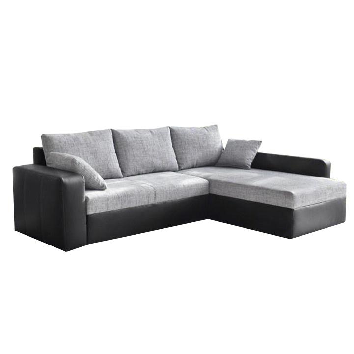 Rohová sedacia súprava, ekokoža čierna/sivá látka,  VIPER