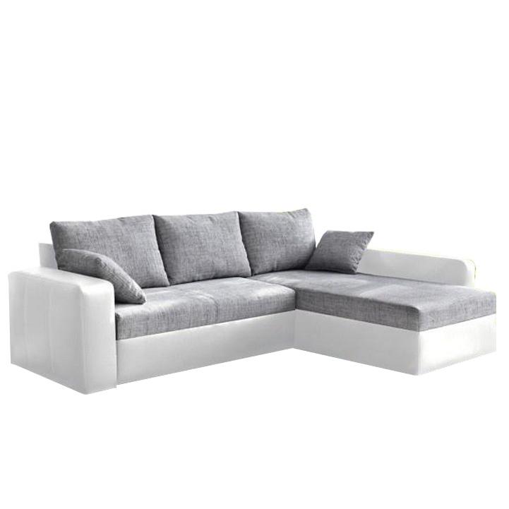 Rohová sedacia súprava, ekokoža biela/ sivá látka, VIPER
