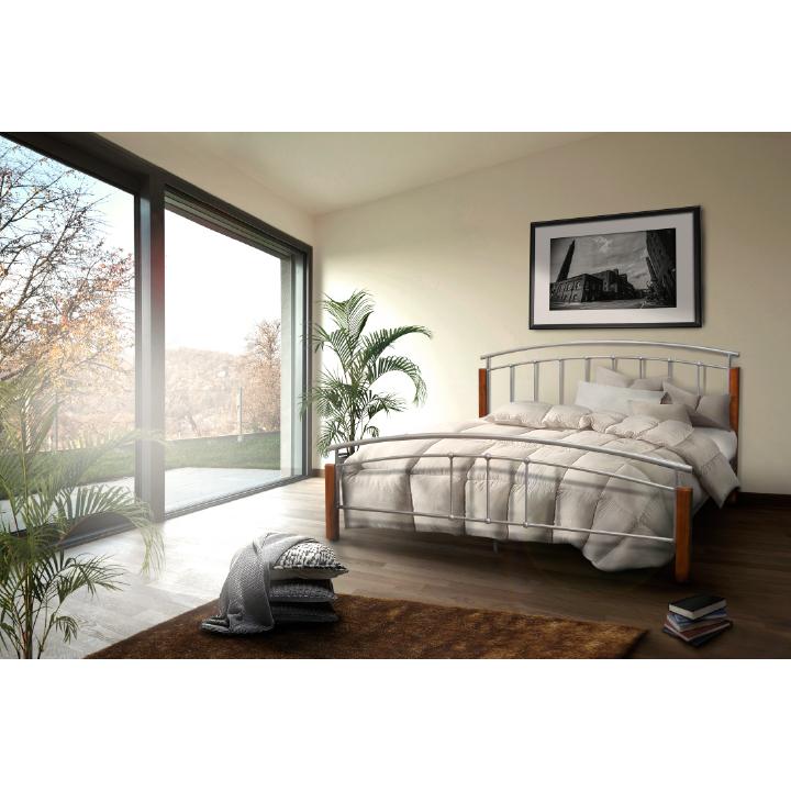 Manželská posteľ, drevo jelša/strieborný kov, 180x200, interiér, MIRELA