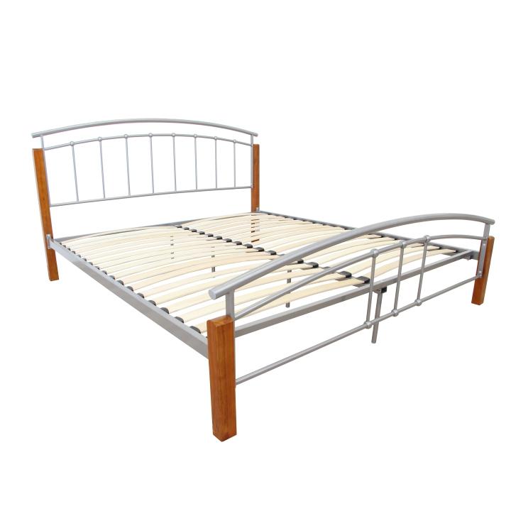 Manželská posteľ, drevo jelša/strieborný kov, 180x200, na bielom pozadí,  MIRELA