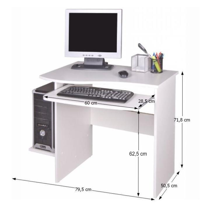 PC stôl, biela, s rozmermi, MELICHAR