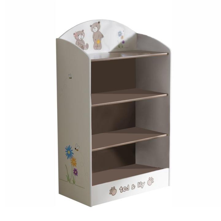 Polica na hračky, čokoládová/biela, PUFF 234548
