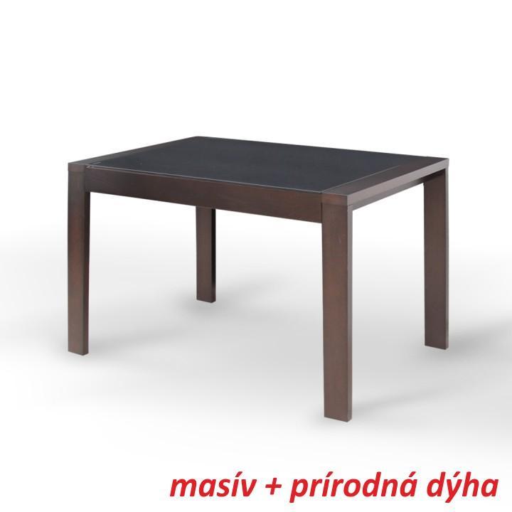 Jedálenský stôl, rozkladací, wenge/čierne sklo, na bielom pozadí, JANADAN